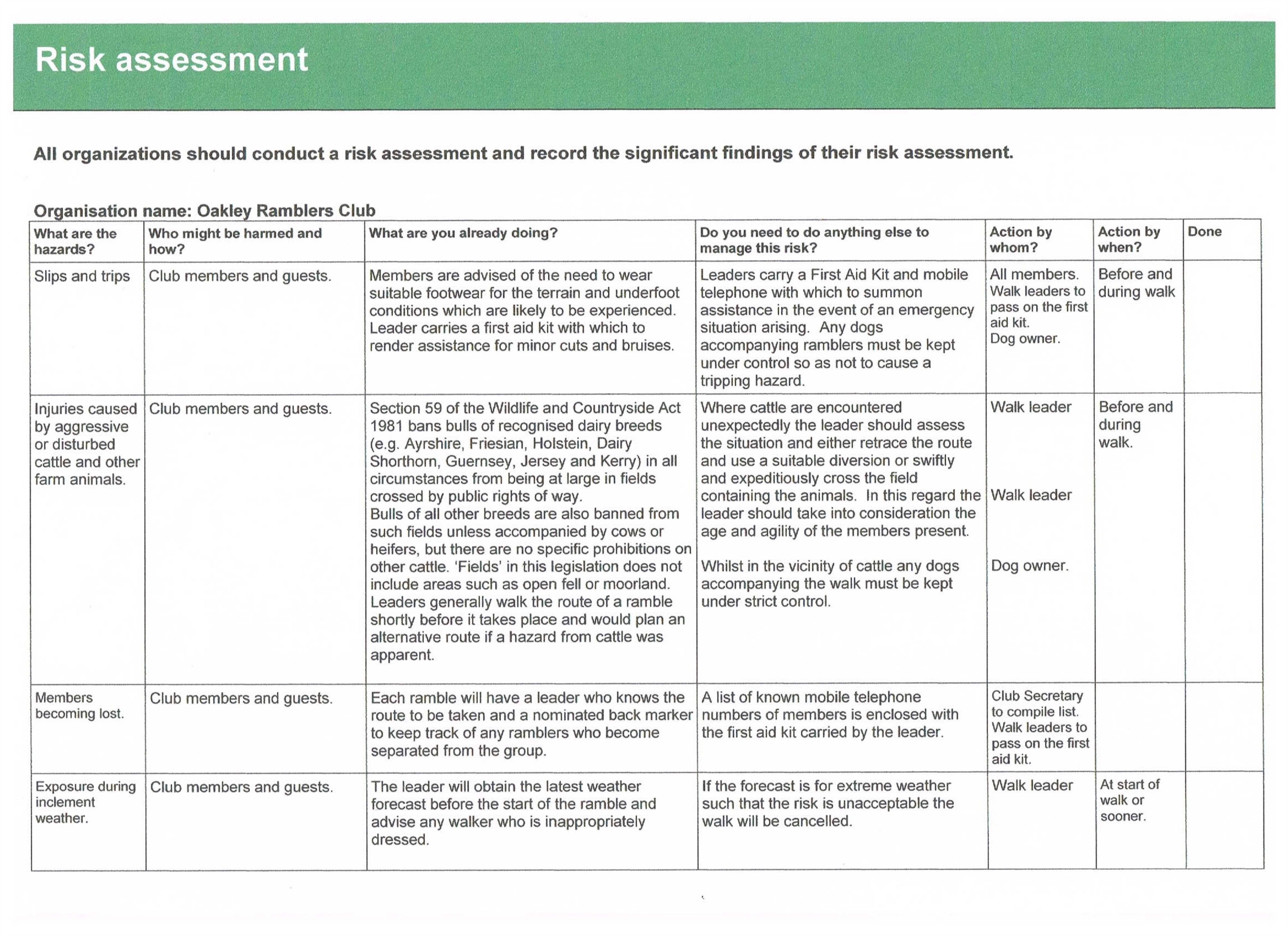 Safety – Health Safety Risk Assessment